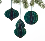 Set of 3 Green With Gold Glitter Christmas Ornaments (Round & Onion & Finial) from Burton & Burton