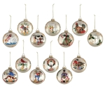 Set of 12 Hand Blown Hand Painted 12 Days of Christmas Hanging Glass Ornaments from Burton & Burton