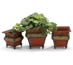 Set of 3 Nested Ornated Raised Tin Brown Planters With Decorative Claw Feet from Burton & Burton