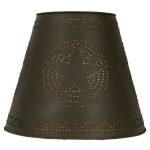 Rustic Brown Star Design Tin Washer Top Lamp Shade 8X15X12 from CTW Home Collection