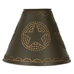 Rustic Brown Star Punched Design Tin Washer Top Lamp Shade 4X10X8 from CTW Home Collection