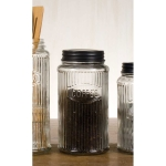 Clear Glass Hoosier Coffee Storage Jar 8 Inch x 4.25 Inch from CTW Home Collection