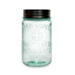 Green Pint Sized Glass Mason Jar With Lid 5.75 Inch x 3 Inch from CTW Home Collection