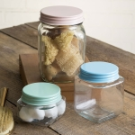 Set Of Three Muli Sized Square Glass Jars With Decorative Lids from CTW Home Collection