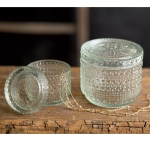 Set of Two Decorative Cut Glass Storage Jars from CTW Home Collection