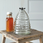 Medium Honey Hive Style Glass Canister With Black Honey Bee Adornment 9.5 Inch from CTW Home Collection
