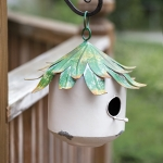 Green Leaf Roof Beach Bungalow Birdhouse 10 Inch from CTW Home Collection