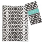 Aria Black & White Geometric Pattern Cotton Kitchen Dish Tea Towel 20x28 from CTW Home Collection