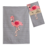 Pink Flamingo Striped Cotton Kitchen Dish Tea Towel 20x28 from CTW Home Collection