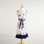 Red White & Blue Star Print Design Cotton Kitchen Apron with Ruffles from CTW Home Collection