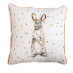 Bunny with Flowers Decorative Cotton Throw Pillow 18x18 from CTW Home Collection