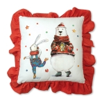 Bunny and Polar Bear Decorative Cotton Throw Pillow 24x24 from CTW Home Collection