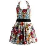 Colorful India Flower Vintage Cotton Kitchen Apron from Design Imports