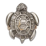 Brass Metal Antique Silver Finish Sea Turtle Napkin Ring from Design Imports