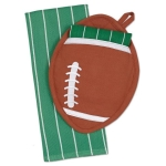 Football Potholder Gift Set with Cotton Dish Towel 18x28 from Design Imports