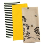 Set of 3 Busy Bee Printed Cotton Dish Towels 18x28 from Design Imports