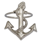 Cast Brass Silver Finish Anchor Napkin Ring 2.25 Inch from Design Imports