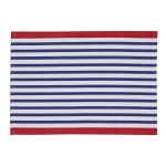 Blue & White Striped Cotton Table Placemat With Red Border 13x19 from Design Imports