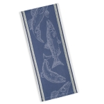 Fish Print Design Blue Jacquard Cotton Dish Towel 18x28 from Design Imports