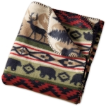 Back Country Stripe Deer & Bear Design Fleece Throw Blanket 50x60 from Design Imports