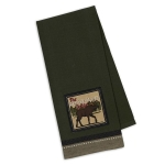 The Moose Trail Lodge Embellished Green Cotton Dish Towel 18x28 from Design Imports