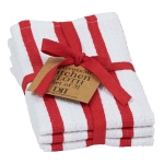 Tango Stripe Red & White Heavyweight Cotton Dishcloth Set of 3 from Design Imports