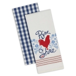 Rooster Rise & Shine Cotton Dish Towels 18x28 Set of 2 from Design Imports
