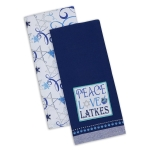 Peace Love Latkes Blue Cotton Dish Towels 18x28 Set of 2 from Design Imports