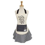 Take Time To Smeel The Coffee Embellished Cotton Kitchen Apron from Design Imports