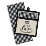 But First Coffee Embroidered Cotton Potholder & Waffle Towel Gift Set from Design Imports