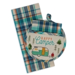Happy Camper Potholder & Waffle Towel Gift Set from Design Imports