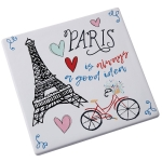 Paris Is Always A Good Idea Earthenware Trivet Tray 8x8 from Design Imports