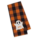 Ghost Boo Orange & Black Checkered Embellished Cotton Kitchen Dish Towel 18x28 from Design Imports
