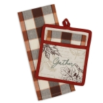 Autumn Harvest Themed Gather Potholder & Dish Towel Gift Set from Design Imports