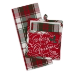 Holiday Plaid Colors Merry Christmas Potholder & Dish Towel Gift Set from Design Imports