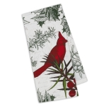Holiday Botanical Winter Cardinal Printed Cotton Kitchen Dish Towel 18x28 from Design Imports