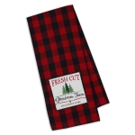 Red & Black Buffalo Check Fresh Cut Christmas Trees Embellished Cotton Kitchen Dish Towel 18x28 from Design Imports