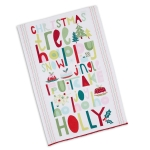 Holiday Themed Jolly Words Print Cotton Dish Towel 18x28 from Design Imports