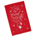 Be Merry Be Bright Ornaments Print Embellished Cotton Dish Towel 18x28 from Design Imports