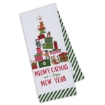 Cat Lover Meowy Catmas & Happy Mew Year Cotton Kitchen Dish Towel 18x28 from Design Imports