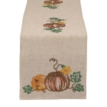 Pumpkins & Vines Embroidered Table Runner Cloth 14 x 60 from Design Imports
