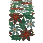 Poinsettia Embroidered Table Runner Cloth 14x54 from Design Imports