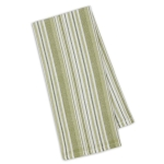 Parsley Green Herringbone Stripe Cotton Dish Towel 18x28 from Design Imports