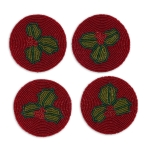 Holly Leaf Design Beaded Drink Coasters Set of 4 from Design Imports