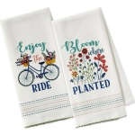 Set of 2 Flower Power Embellished Cotton Dish Towels (Enjoy The Ride & Bloom Where Planted) from Design Imports