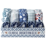 Set of 20 Blue Garden Themed Cotton Dish Towels 18x28 from Design Imports