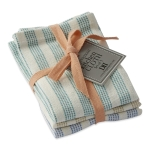 Tide Pool Teal Green & Blue Striped Cotton Dishcloth Set of 3 from Design Imports