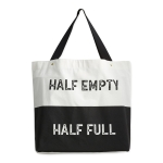 Black & White Half Empty Half Full Cotton Tote Bag from Design Imports