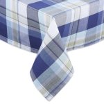 Lakeside Themed Blue & White Plaid Cotton Tablecloth from Design Imports