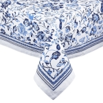 Madiera Blue & White Cotton Printed Tablecloth from Design Imports